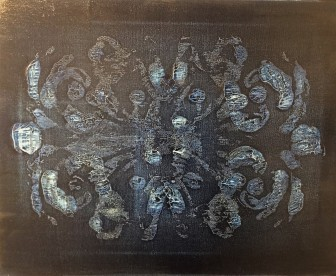 Rorschach Indigo 10 - acrylic monotype - $75