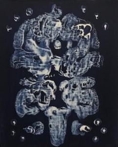 Rorschach Indigo 13 - acrylic monotype - $75